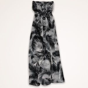 H&M Tropical Leaf Print Strapless Maxi Dress